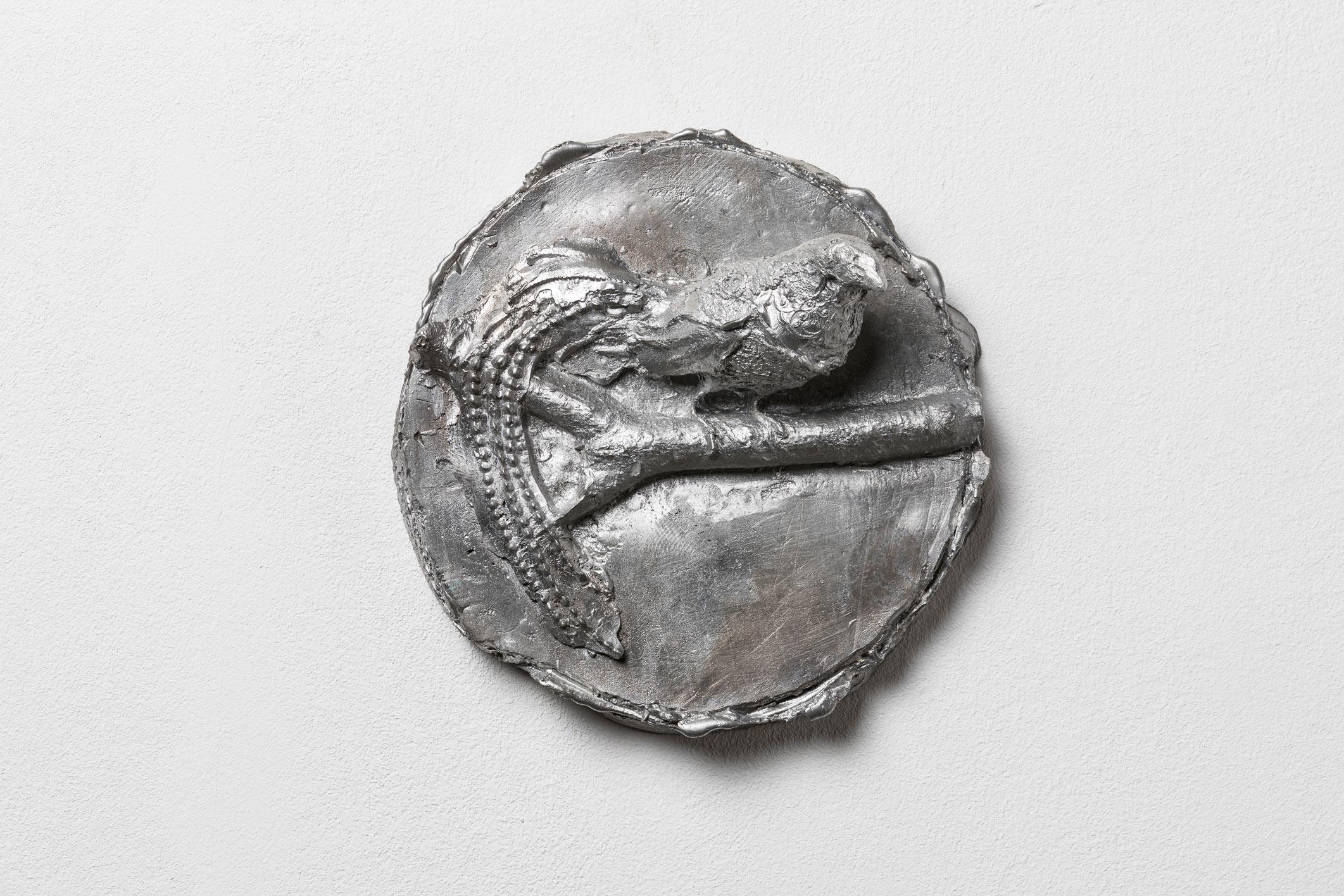 """""""Wandbild Vogel V"""", 25 x 25 x 7 cm, Aluminium, 2017"""
