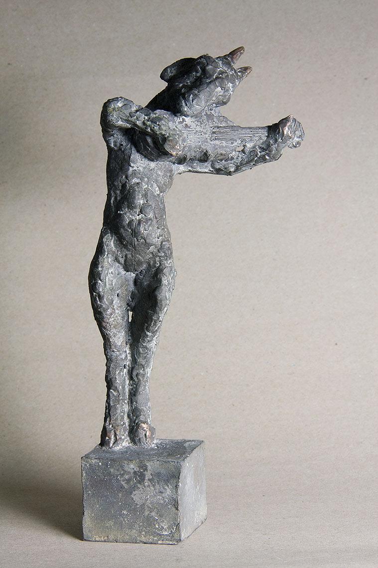 """""""geigende Ziege"""", Bronze, 18 cm, 2010"""