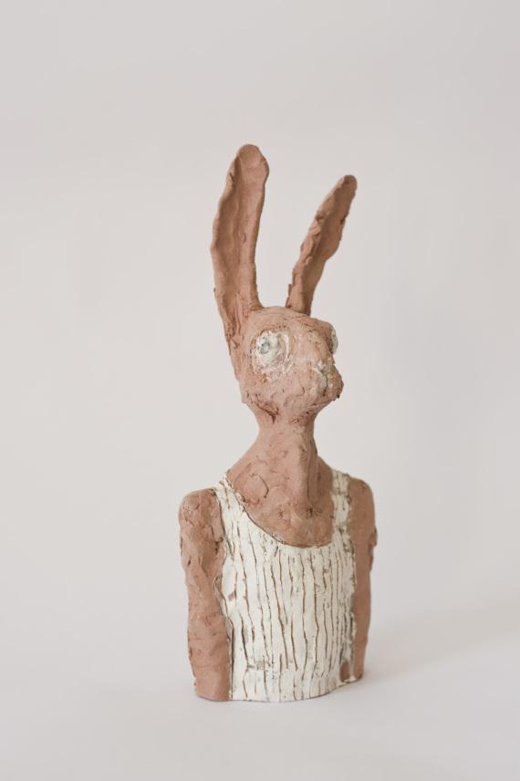 """""""Hasenbüste"""", Keramik, 27 cm, 2017"""