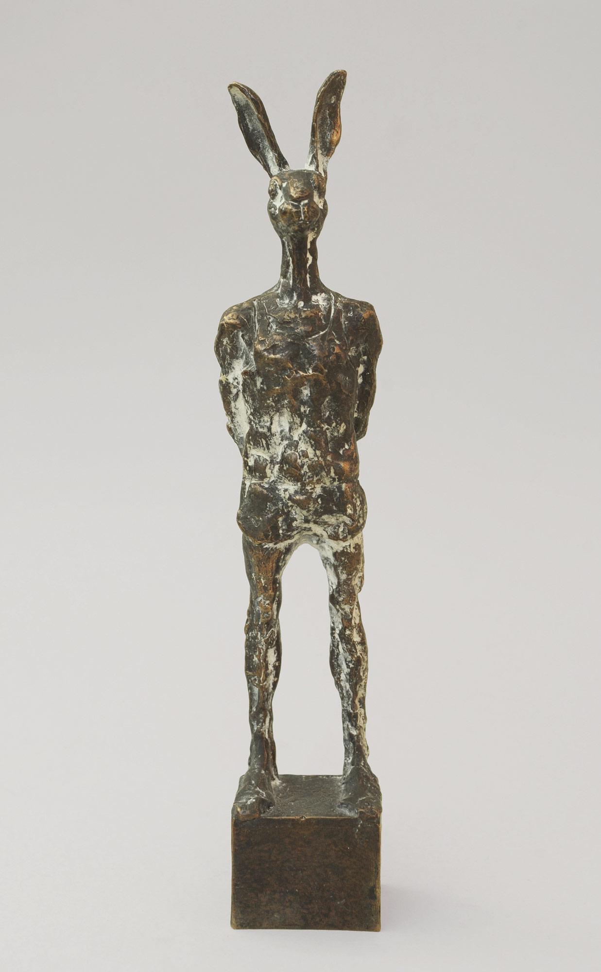 """Hase in Turnhose"" Bronze,13 cm, 2013"