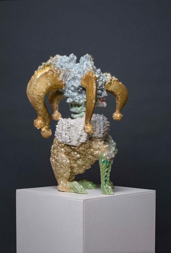 """""""die Gier"""",  Beton, Glitzer, Acrylfarbe, 50 x 50 x 70 cm, 2016"""